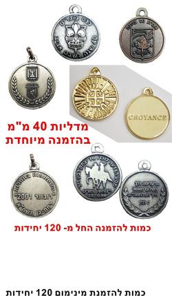 מדליות 40 ממ בהזמנה מיוחדת