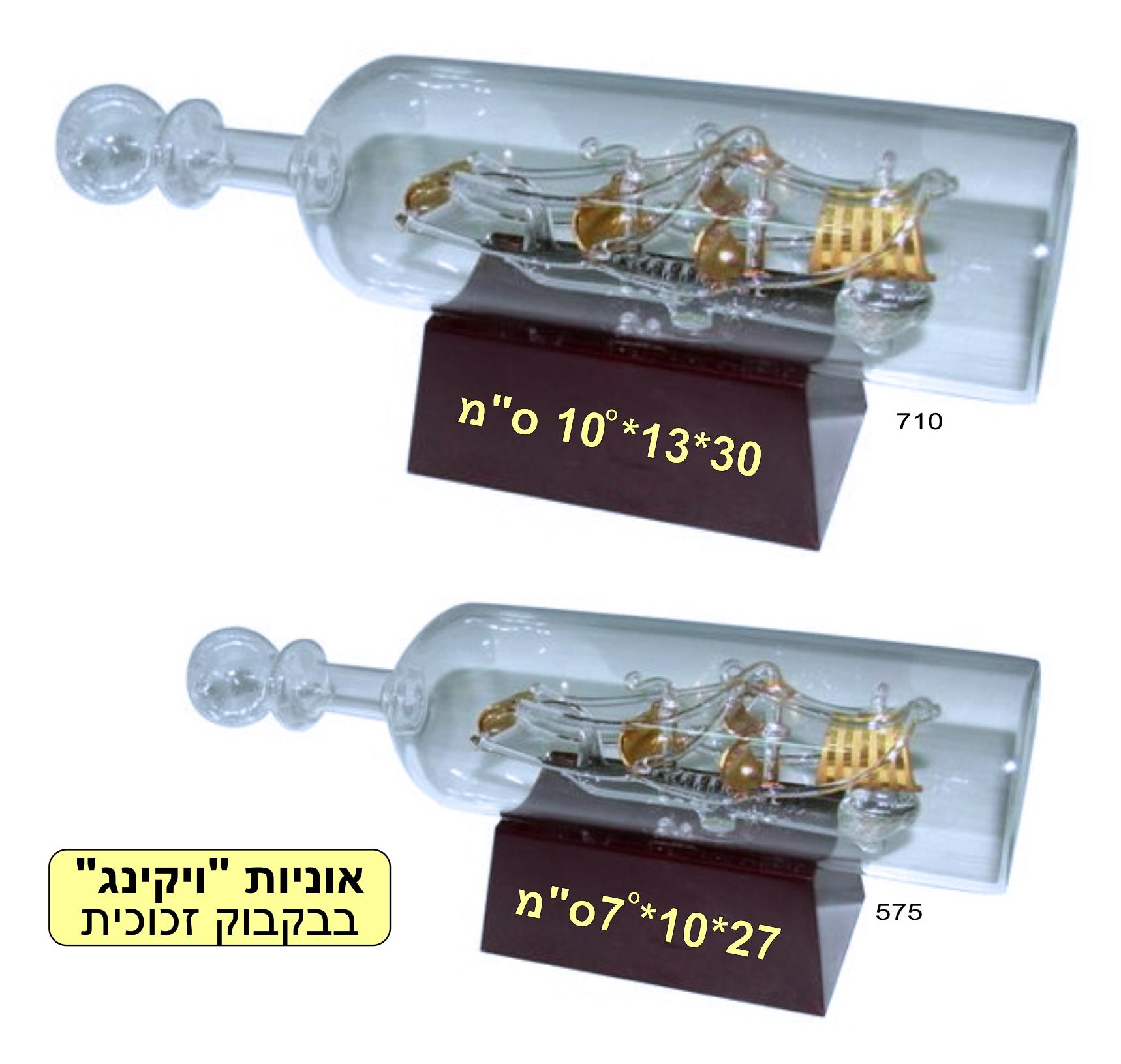 אוניות ויקינג בבקבוק זכוכית