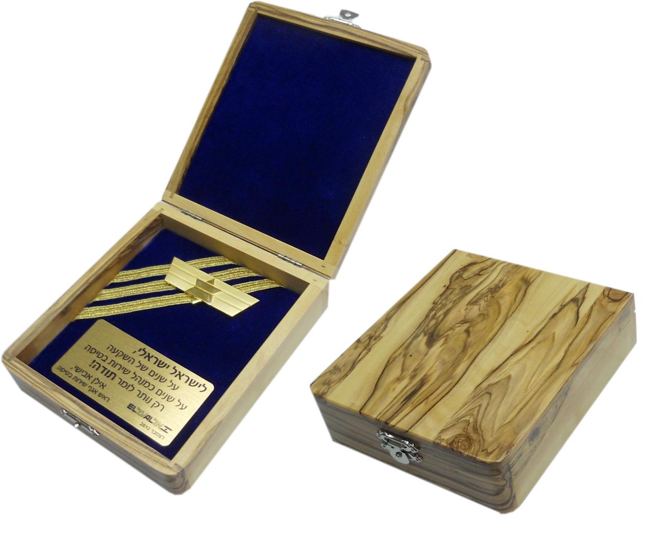 קופסאות עץ זית בשילוב קטיפה