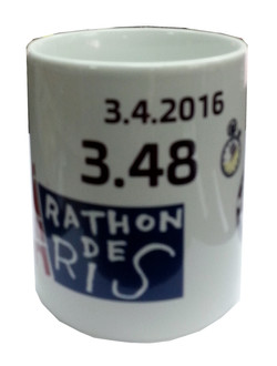 ספל מרתון פריז 2016 עם תוצאת המרוץ