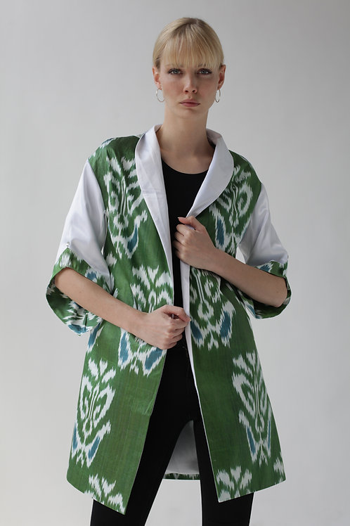 Green Coat with White Satin Sleeves