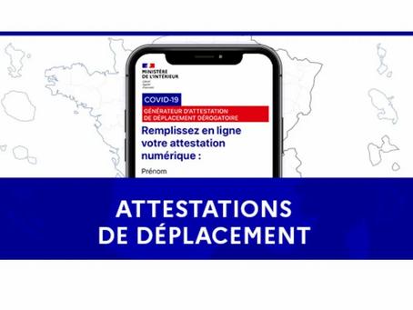 """Attestations de déplacement """"couvre-feu"""""""