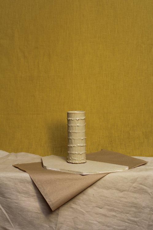ridged narrow cream vase