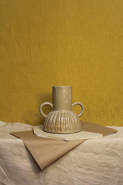 large cream handled drip vase