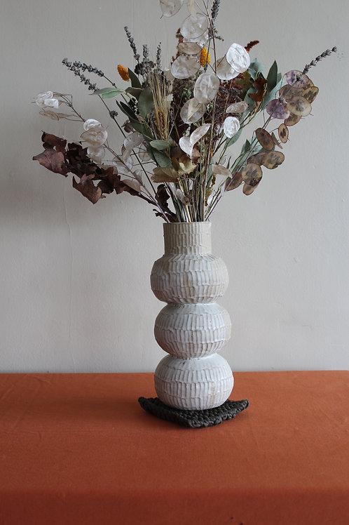 cream tall ridged vase