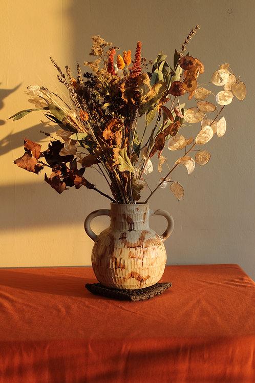 large manganese ridged handled vase