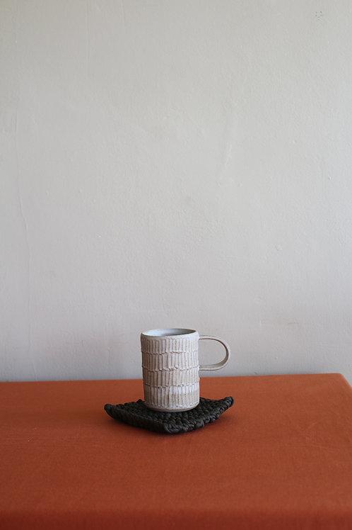 large cream ridged mug