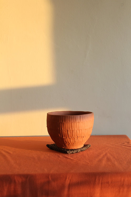 ridged terracotta plant pot