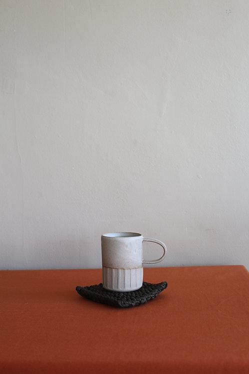 large cream mug partial glaze