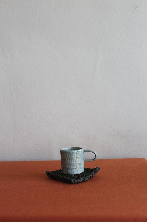 celadon ridged coffee cup