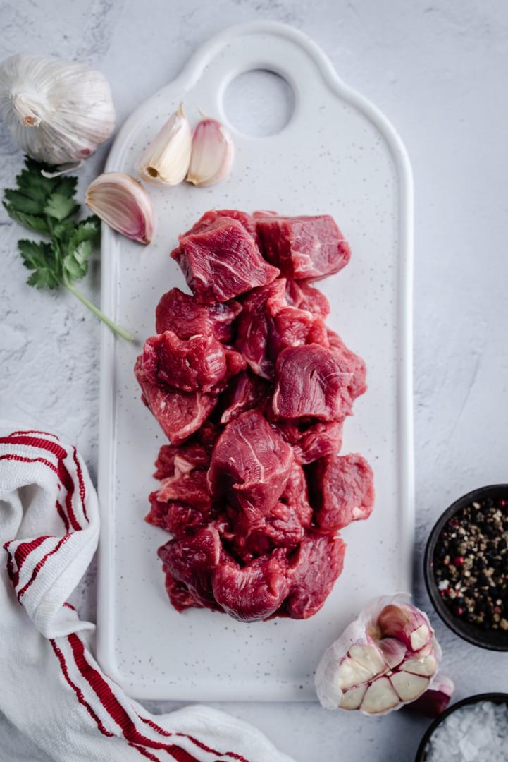 100% Grass Fed Diced Beef