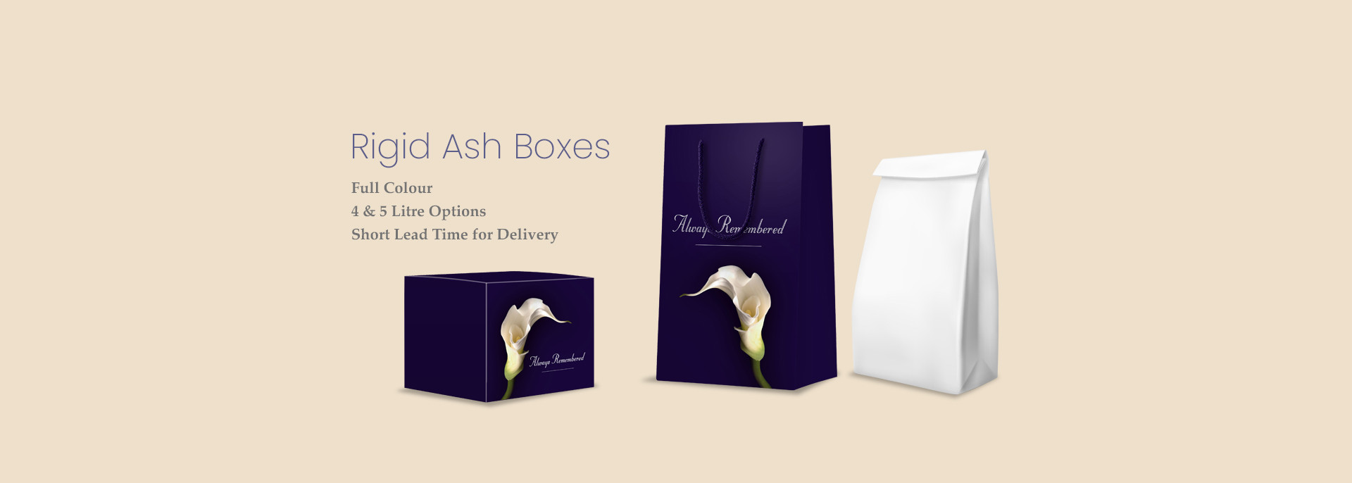Branded Rigid ash boxes for Funeral Professionals