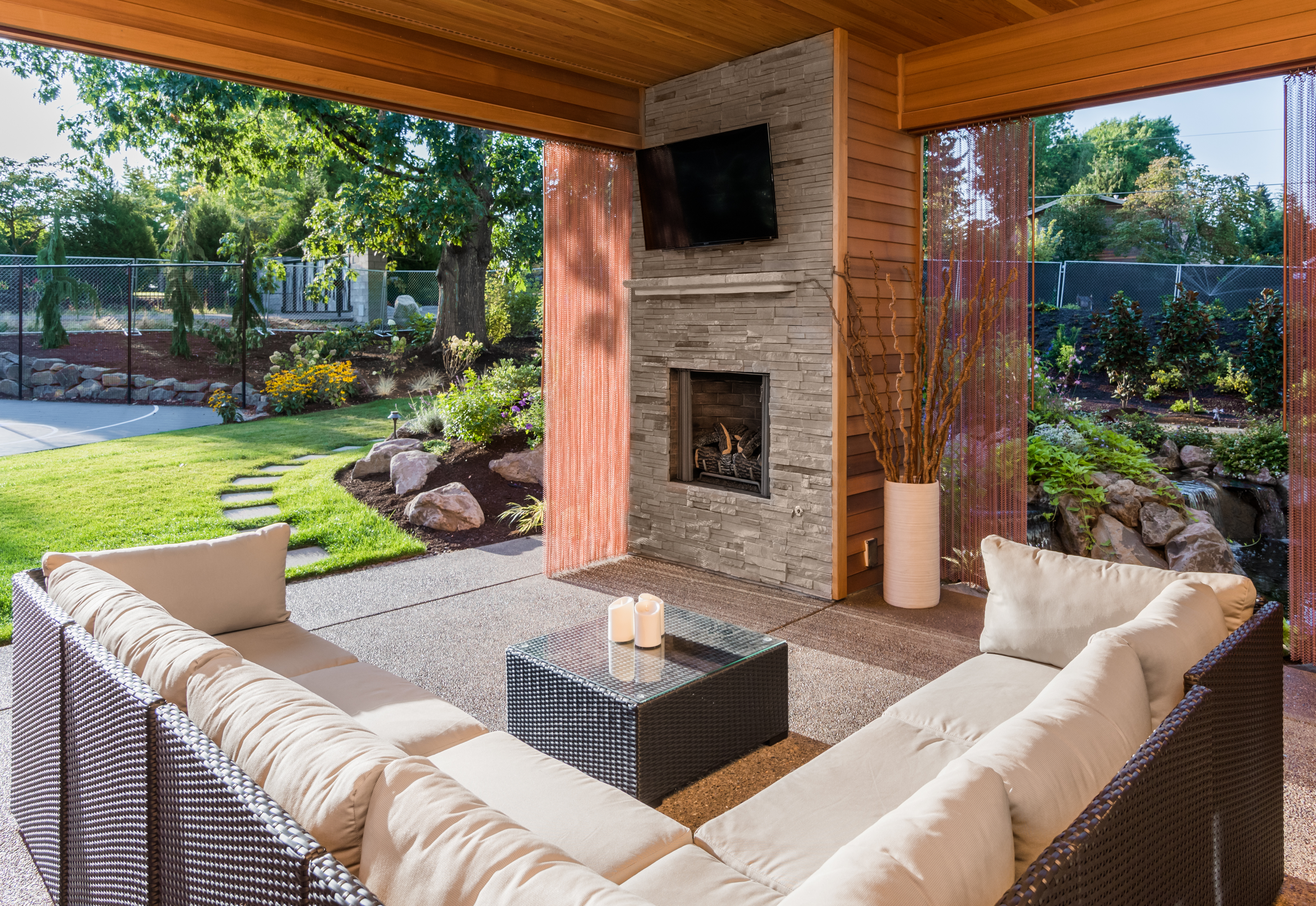 Outdoor spaces and fireplaces.