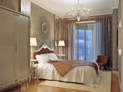 Bedrooms, moldings and furnishings.