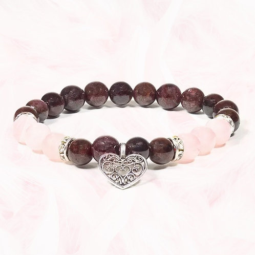 BRACELET Grenat/quartz rose
