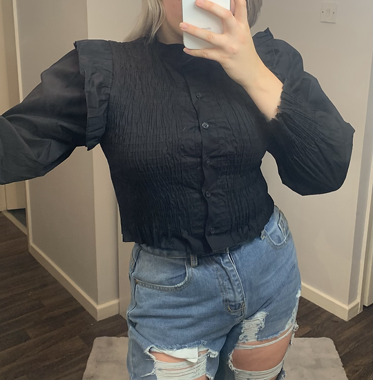 BLACK Frill Cropped Blouse