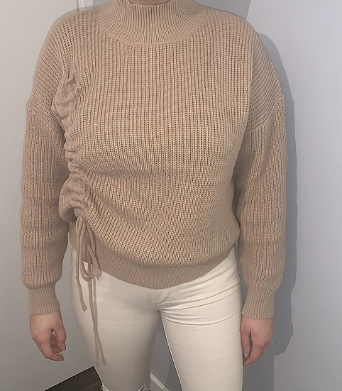 Side Ruched Knitted Jumper