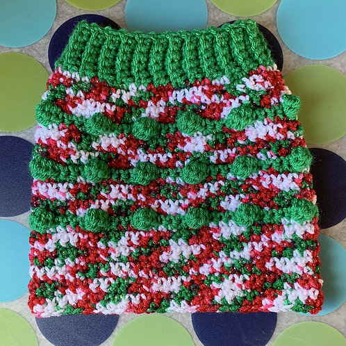 Size S - Dog Sweater Vest - Candy Cane - Green