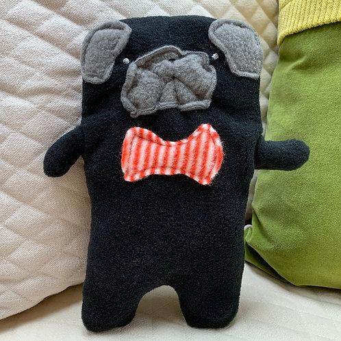 Oliver ~ The Pug Bow Tie Bummlie ~ Stuffing Free Dog Toy - Orange & White Stripe