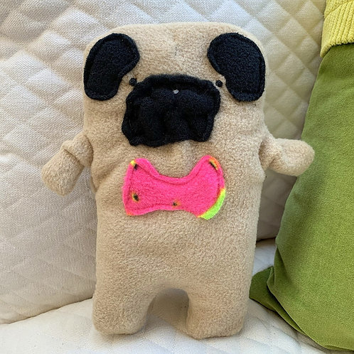 Frank ~ The Pug Bow Tie Bummlie ~ Stuffing Free Dog Toy - Watermelon Bow Tie
