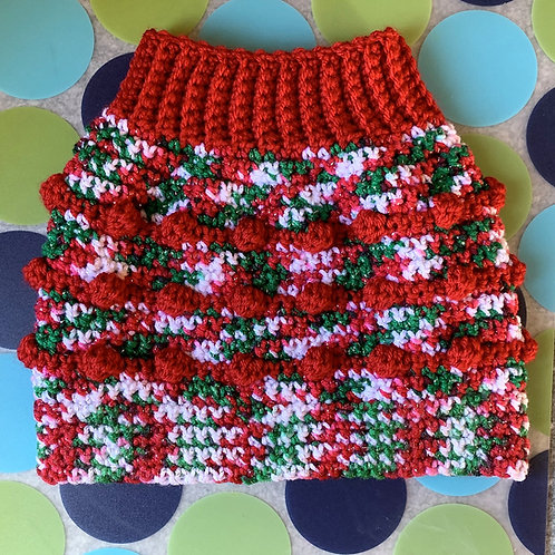 Size M - Dog Sweater Vest - Candy Cane - Red