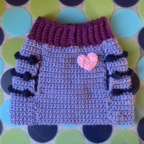 Size M - Pink Heart Badge Dog Sweater Vest - Midnight Magic