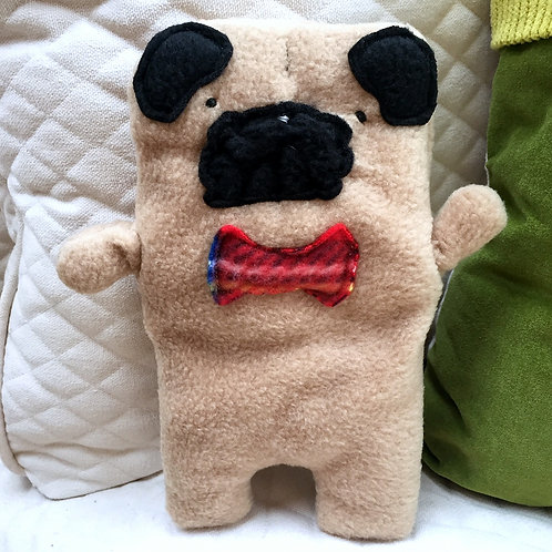 Frank ~ The Pug Bow Tie Bummlie ~ Stuffing Free Dog Toy - Red Plaid