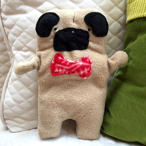 Frank ~ The Pug Bow Tie Bummlie ~ Stuffing Free Dog Toy - Red & White Snowflake