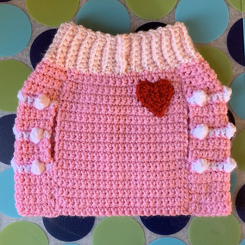Size M - Red Heart Badge Sweater Vest - Powder Puff