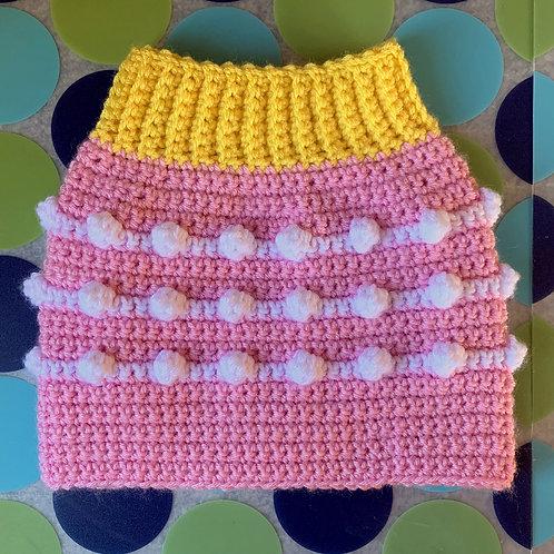 Size M - Dog Sweater Vest - Pink Lemonade