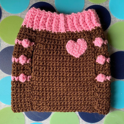 Size S - Pink Heart Badge - Dog Sweater Vest - Cake Pop