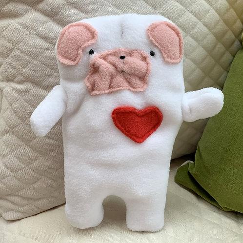 Owen ~ The White Pug Bummlie ~ Stuffing Free Dog Toy
