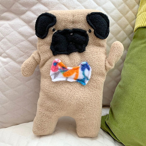 Frank ~ The Pug Bow Tie Bummlie ~ Stuffing Free Dog Toy - Flower Bow Tie
