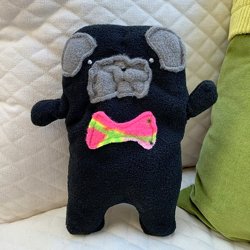 Oliver ~ The Pug Bow Tie Bummlie ~ Stuffing Free Dog Toy - WatermelonBow Tie