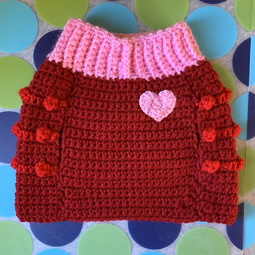 Size M - Pink Heart Badge Dog Sweater Vest - Red Velvet Cupcake
