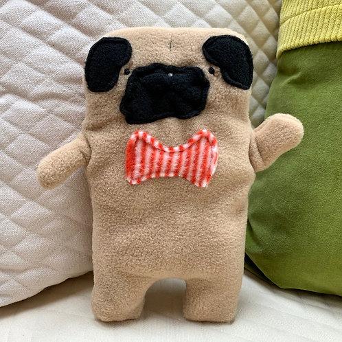 Frank ~ The Pug Bow Tie Bummlie ~ Stuffing Free Dog Toy - Orange & White Stripe