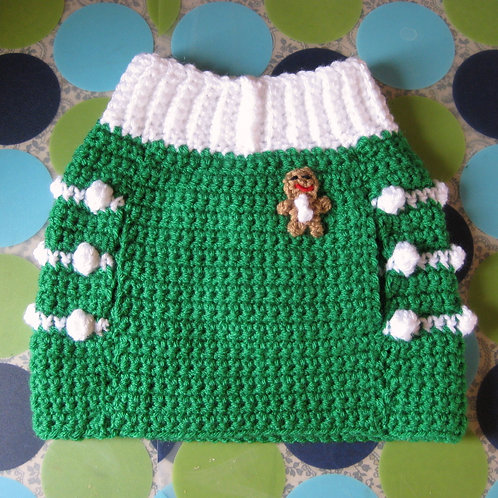 Size M - Dog Sweater Vest - Gingersnap Christmas Green