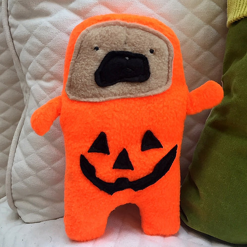 Boo  - The Jack-O-Lantern Pug-Jama Bummlie ~ Stuffing Free Dog Toy