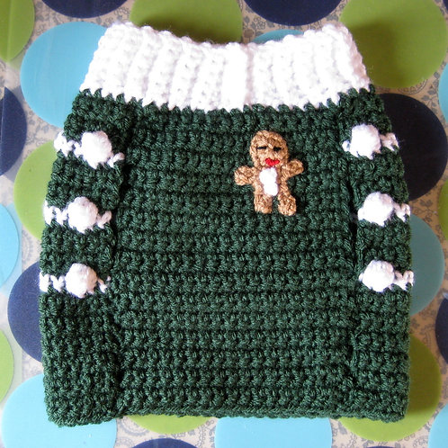Size S - Dog Sweater Vest - Gingersnap Evergreen