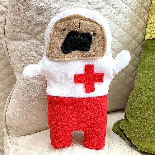 Nurse Helen - The Get Well Soon Pug-Jama Bummlie ~ Stuffing Free Dog Toy