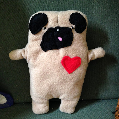 """Rudy ~ The """"Tongue Out"""" Pug Bummlie ~ Stuffing Free Dog Toy"""