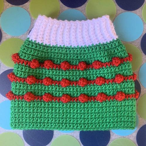 Size M - Dog Sweater Vest - Santa's Crew - Green