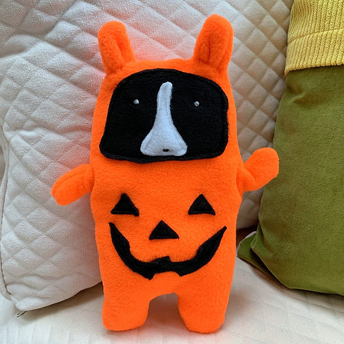 Jinx  - The Boston Terrier Jack-O-Lantern Bummlie ~ Stuffing Free Dog Toy