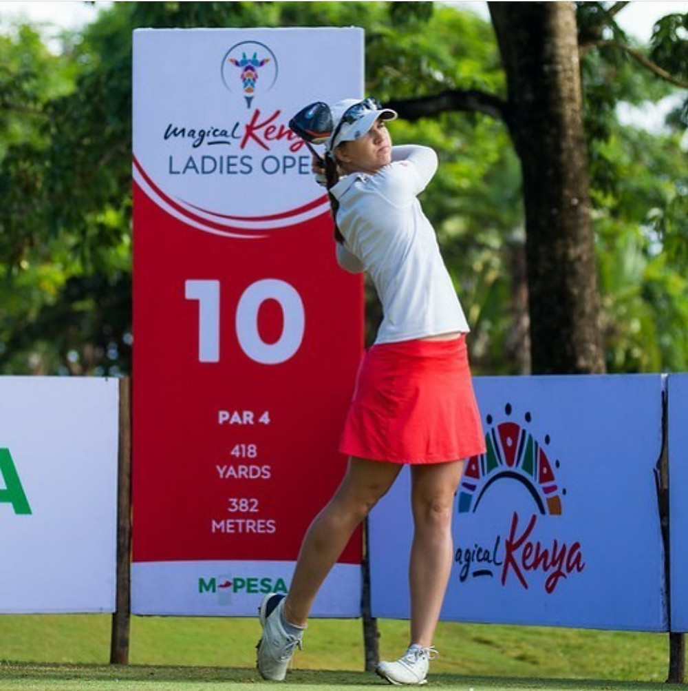 katja pogacar, teeing off, 10th tee, LET tournament, Kenya