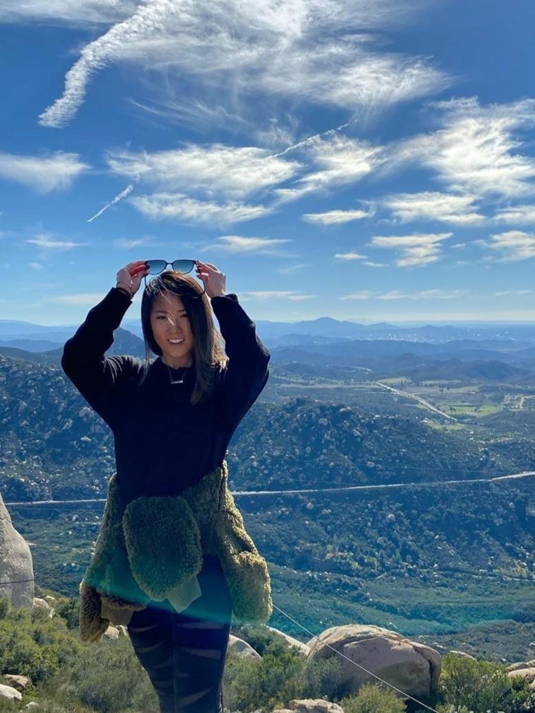 Professional golfer Rebecca Lee-Bentham enjoying a hike at Mount Woodson