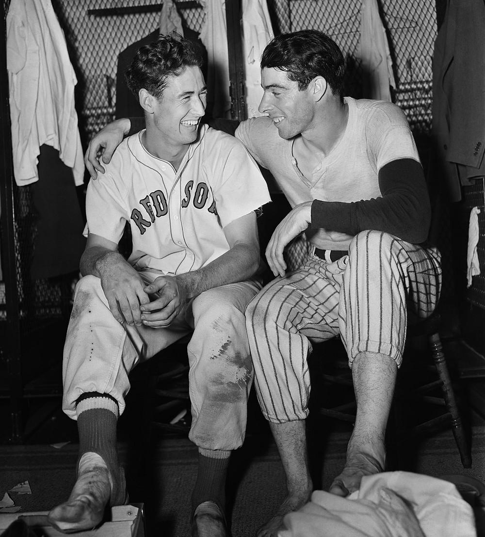 Joe DiMaggio, Ted Williams, 1941 All Star Game, baseball, splendid splinter, yankee clipper, joltin' Joe, Yankees, Red Sox,