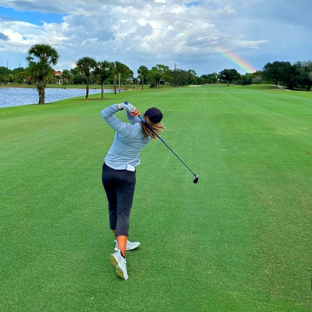 Striving for the Rainbow's end.  Rebecca Lee-Bentham playing in search of a professional LPGA Tour Card