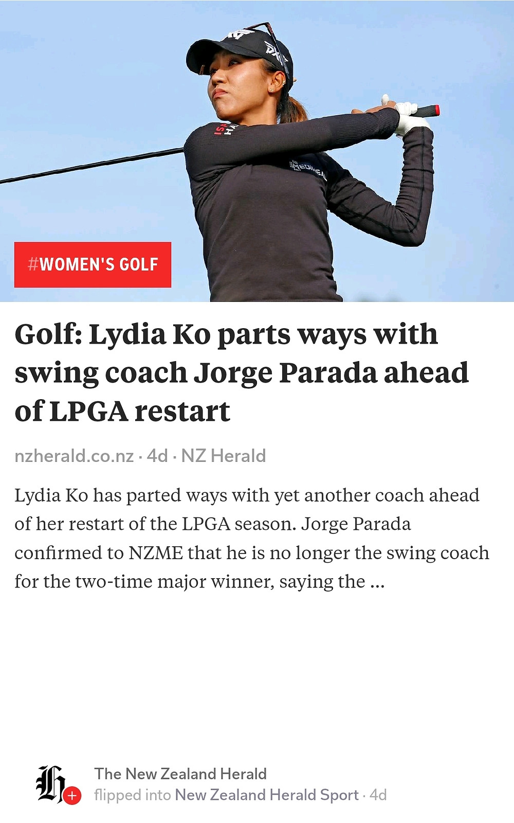 Lydia Ko, nzherald, lpga, golf, swing coach,