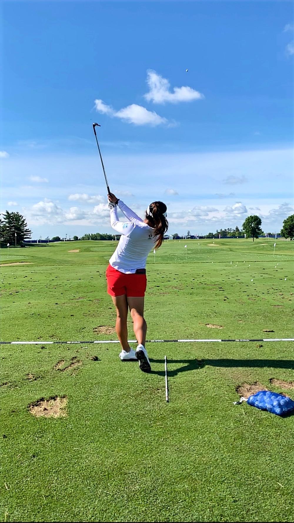 Jaclyn Lee, golfer, LPGA, practice range, golf club,