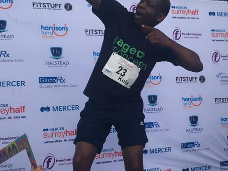 WELL DONE KOLA! For completing the Surrey Half Marathon in 2hrs 2mins.